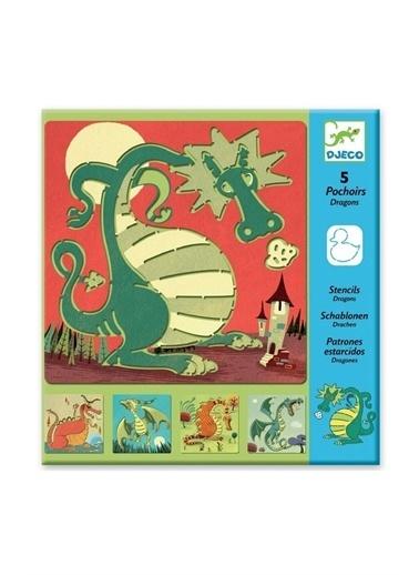 Djeco Djeco Resim Boyama Şablonları / Dragons Pembe